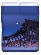 The Moon Sets Over The Wreck Duvet Cover