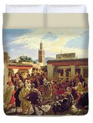 The Moroccan Storyteller Duvet Cover by Alfred Dehodencq