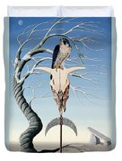The Neolithic Totem Oil On Canvas Duvet Cover