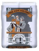 The New Holiday, Vintage Travel Poster Duvet Cover