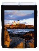 The Nubble Lighthouse Duvet Cover by Steven Ralser