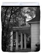 The Old Homestead In Black And White Duvet Cover