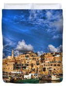 the old Jaffa port Duvet Cover by Ron Shoshani