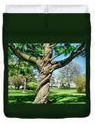 The Old Lady Of The Green Duvet Cover by Michelle Calkins