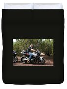 The Old Man On The Motorcycle Duvet Cover