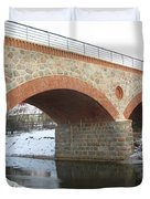 The Old Railway Bridge In Silute. Lithuania. Winter Duvet Cover