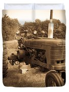 The Old Tractor Sepia Duvet Cover