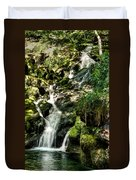 The Old Troll Caught By The Sun Admiring The Forest Waterfall Duvet Cover