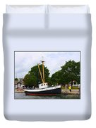 The Old Tugboat At Mystic Duvet Cover