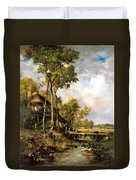 The Old Windmill Near Barbizon Duvet Cover