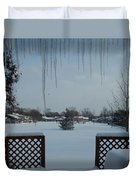 The Patio In Winter Duvet Cover