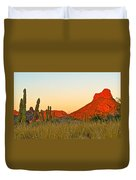 The Peak And Cardon Cacti In The Sunset In San Carlos-sonora Duvet Cover
