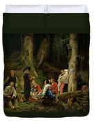 The Pilgrims From The Abbey Of St. Odile Oil On Canvas Duvet Cover