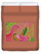 My Pink Guitar Pop Art Duvet Cover
