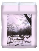 The Pink Winter Light On The Mountain Top Duvet Cover