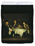 The Poet Alexis Piron 1689-1773 At The Table With His Friends, Jean Joseph Vade 1720-57 And Charles Duvet Cover