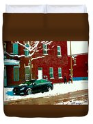 The Point Pointe St Charles Snowy Walk Past Red Brick House Winter City Scene Carole Spandau Duvet Cover