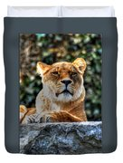 The Pondering Lioness Duvet Cover