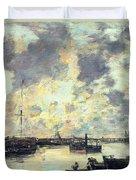 The Port Duvet Cover by Eugene Louis Boudin