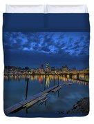 The Portland Oregon Waterfront Blue Hour Duvet Cover
