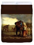 The Potato Harvest Duvet Cover by Jean Francois Millet