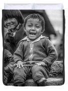 The Power Of Smiles Bw Duvet Cover