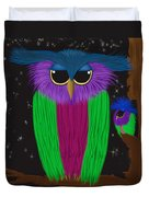 The Prismatic Crested Owl Duvet Cover