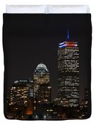 The Prudential Lit Up In Red White And Blue Duvet Cover