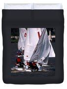 The Race Is On Duvet Cover by Skip Willits