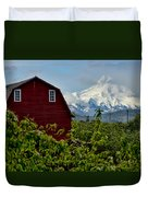 The Red Barn And Mt. Hood Duvet Cover
