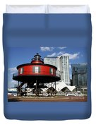 The Red Beacon From Baltimore Harbor Duvet Cover