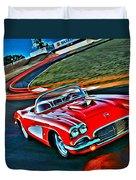 The Red Corvette Duvet Cover