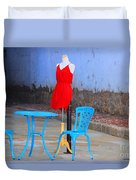 The Red Dress Lunch Special Duvet Cover