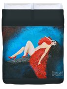 The Red Feather Boa Duvet Cover