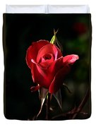 The Red Rode Bud Duvet Cover by Robert Bales
