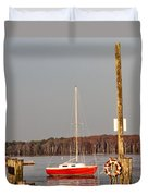 The Red Sailboat Duvet Cover
