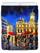 The Red Umbrellas Of Lyon Duvet Cover