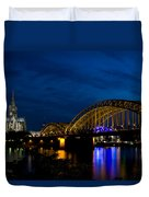 The Rhine Rail Bridge And Cathedral Of Cologne Duvet Cover