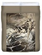 The Rhinemaidens Obtain Possession Of The Ring And Bear It Off In Triumph Duvet Cover by Arthur Rackham