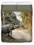 The Rhino At Kaziranga Duvet Cover