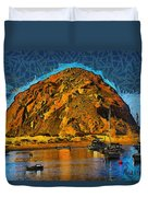 The Rock At Morro Bay Abstract Duvet Cover