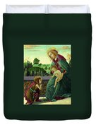 The Rockefeller Madonna. Madonna And Child With Young Saint John The Baptist Duvet Cover