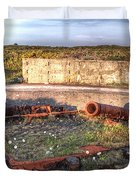 The Ruins Of A Ww2 Cannon And Bunkers Duvet Cover