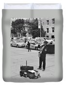 The Saxman In Black And White Duvet Cover