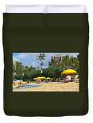 The Scene At Waikiki Beach Duvet Cover