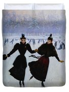 The Skaters Duvet Cover by Jean Beraud