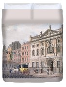The South Front Of Ironmongers Hall, From R. Ackermanns Repository Of Arts 1811 Colour Litho Duvet Cover