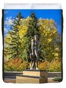 The Spartan Statue In Autumn Duvet Cover