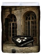 The Stone Sphere And Broken Grand Piano Duvet Cover