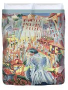 The Street Enters The House Duvet Cover by Umberto Boccioni